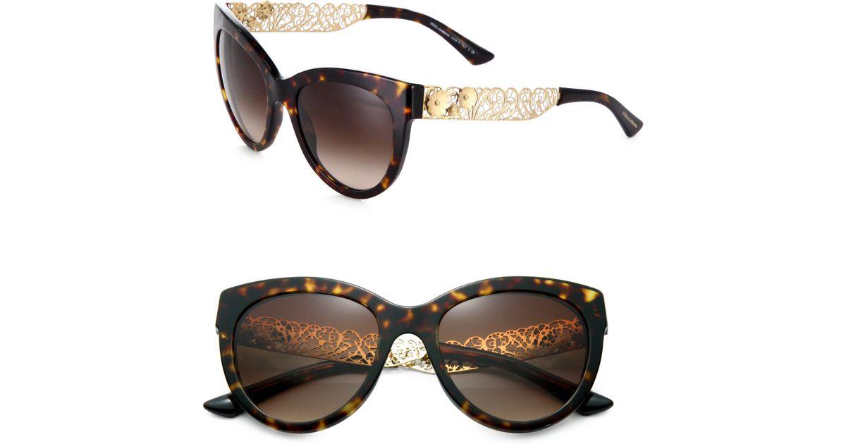 Dolce Gabbana Filigree Sunglasses  dolce gabbana filigree cat s eye sunglasses in brown lyst
