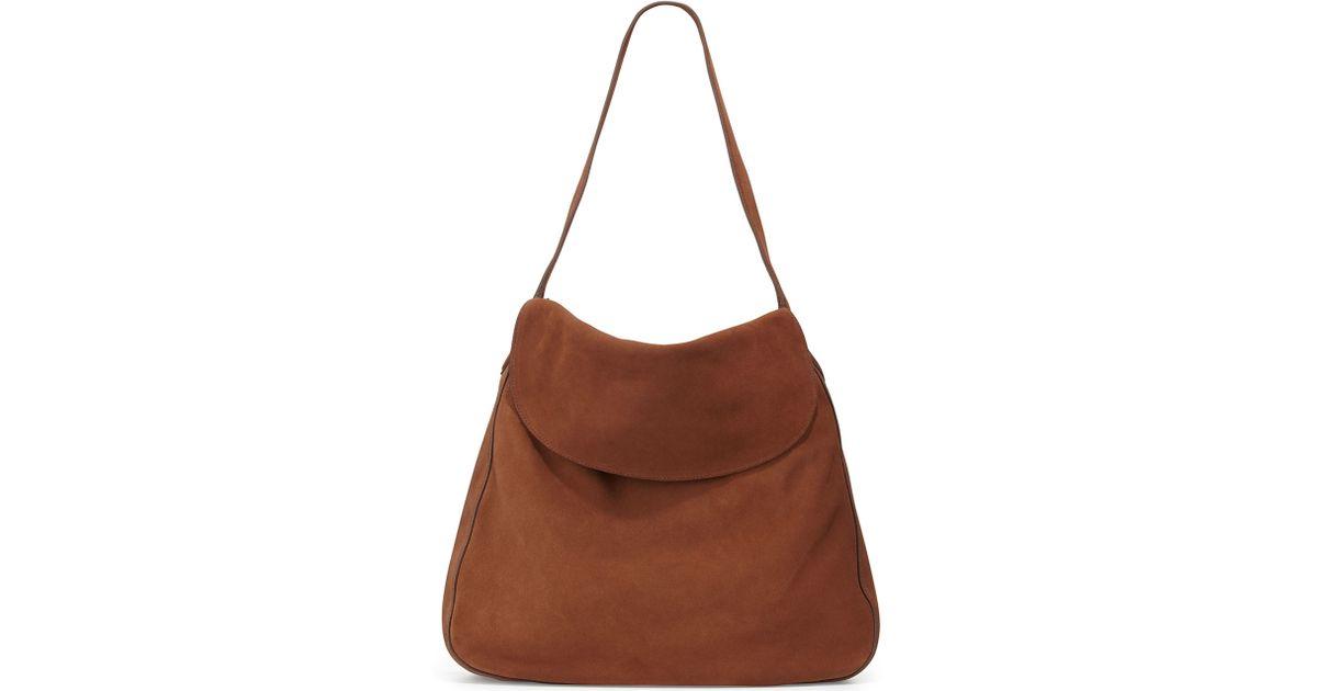 Prada Suede Doubled Flap-top Medium Hobo Bag in Brown   Lyst