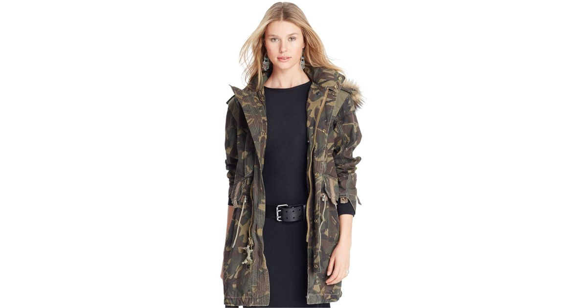 520483300 ... canada lyst polo ralph lauren camouflage hooded utility coat in green  4fa9b 242ed