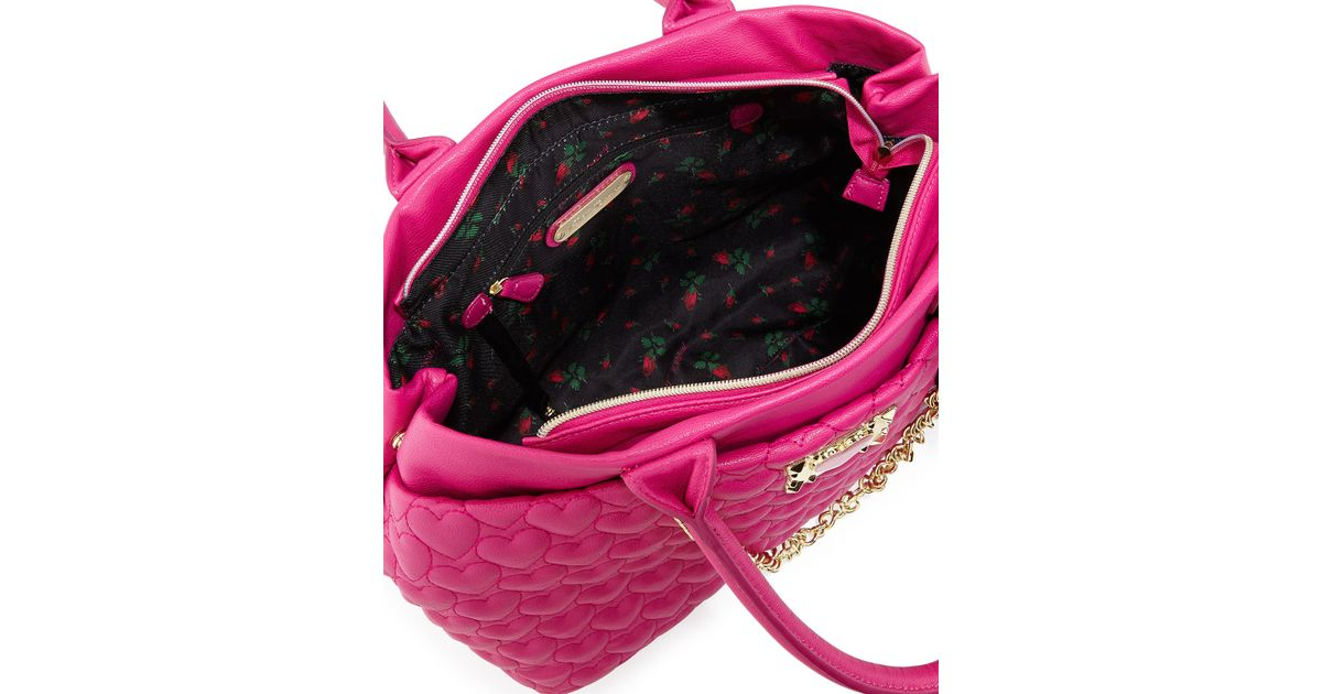 Betsey Johnson Heart Quilted Tote Bag In Pink Lyst
