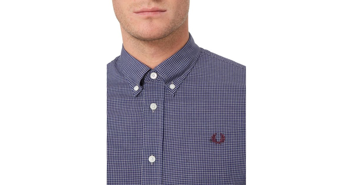 Stussy micro marl gingham long sleeve button down shirt in for Blue gingham button down shirt