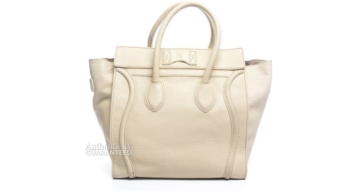 buy celine nano - Auth Celine Leather Mini Luggage Shopper Tote Bag Handbag Black Ivory