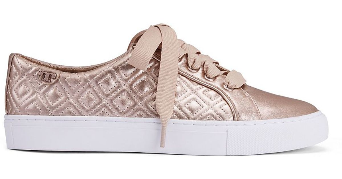 bd73e90caef7 Lyst - Tory Burch Marion Quilted Metallic Sneaker in Pink
