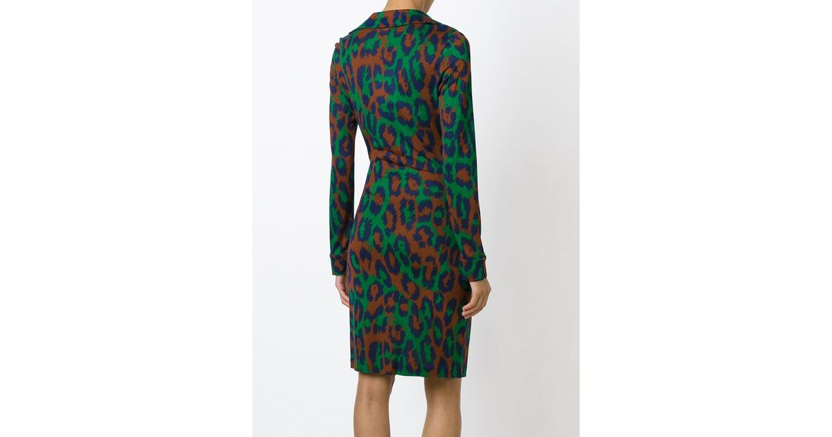 Diane Von Furstenberg Silk Leopard Print Wrap Dress In