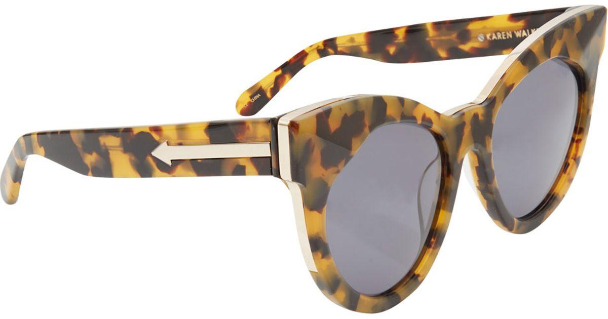 d1679a363a3f Karen Walker Brown Starburst Crazy Tort Cat Eye Sunglasses in Brown - Lyst
