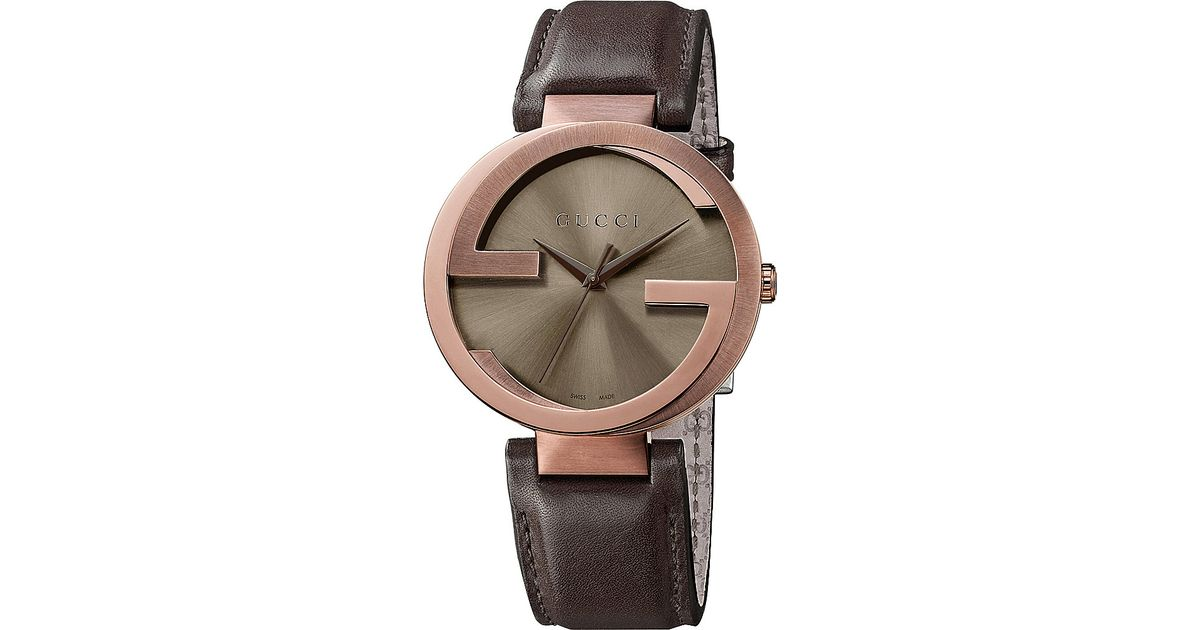 415f626c441 Gucci Ya133207 Interlocking Rose Gold-plated And Leather Watch in Pink -  Lyst