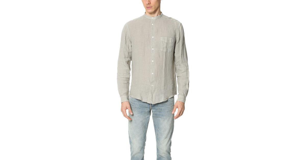 Hartford Band Collar Linen Shirt In Gray For Men Lyst