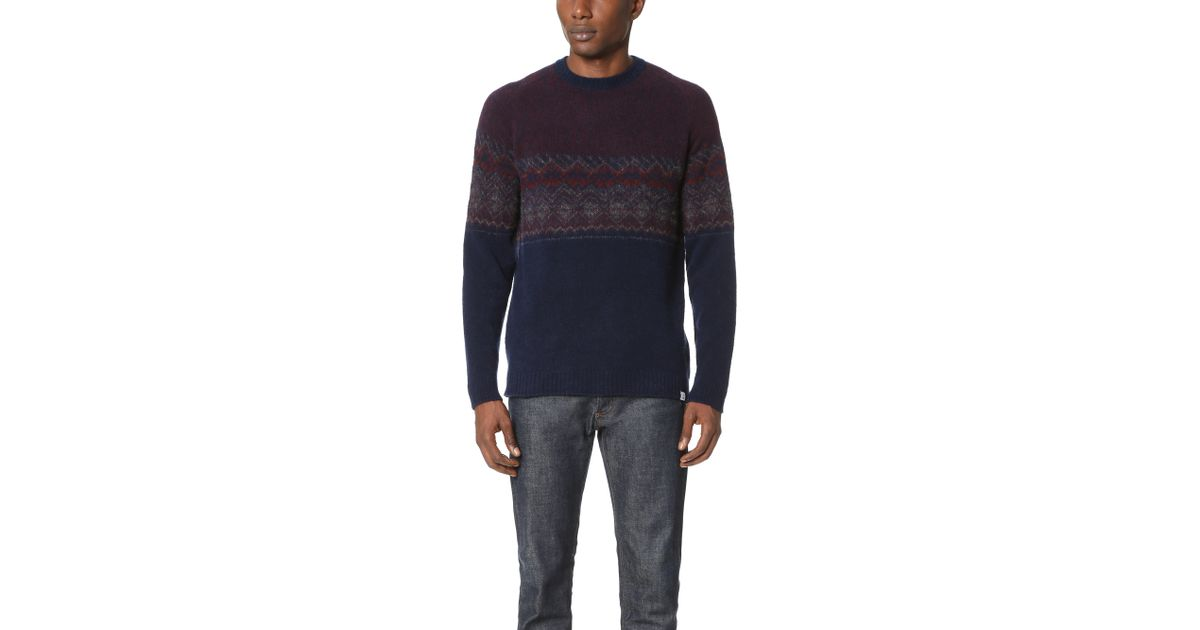 Lyst - Norse projects Birnir Fair Isle Sweater in Blue for Men