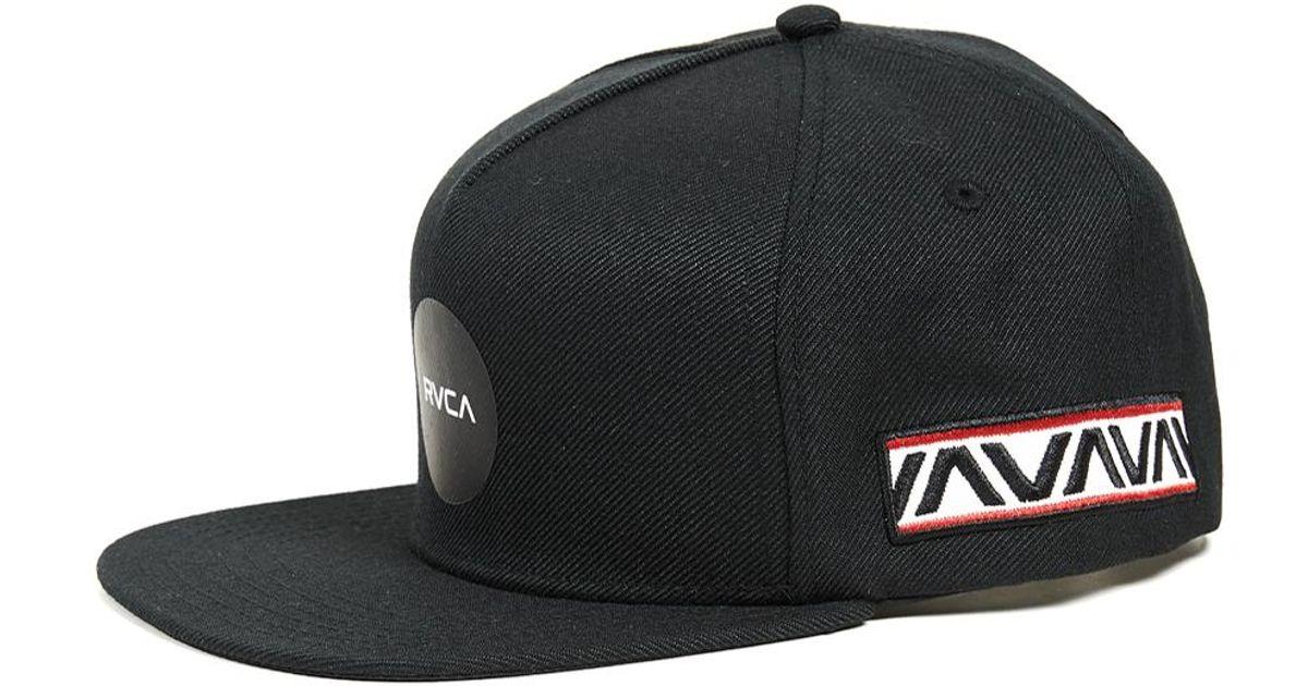 9280207a RVCA Black Bruce Irons Snapback Hat for men
