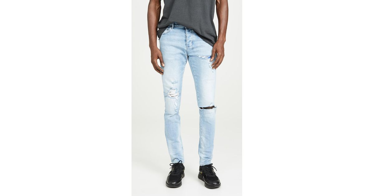 Kstare Mens Ripped Slim Straight Fit Biker Jeans with Zipper Deco Stretchy Ripped Skinny Fashion Stretch Jean Blue