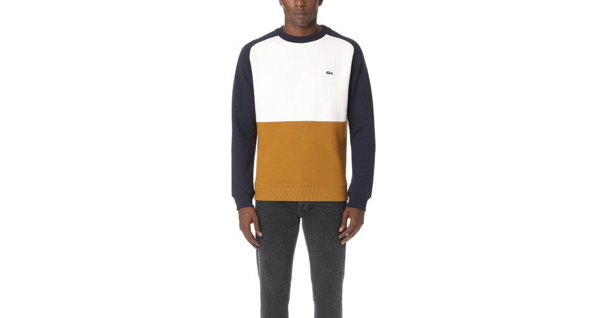 Lacoste Mens Long Sleeve Brushed Pique Fleece Colorblock Sweater