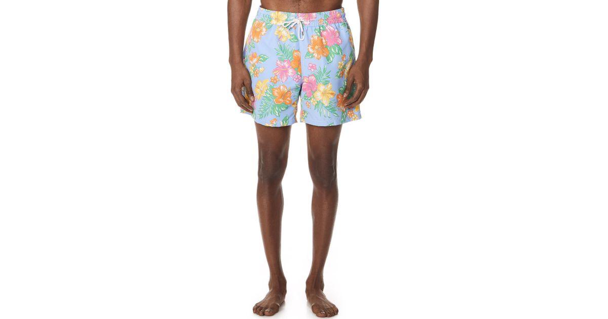 13ce6d2987 Polo Ralph Lauren Hibiscus Traveler Swim Trunks for Men - Lyst
