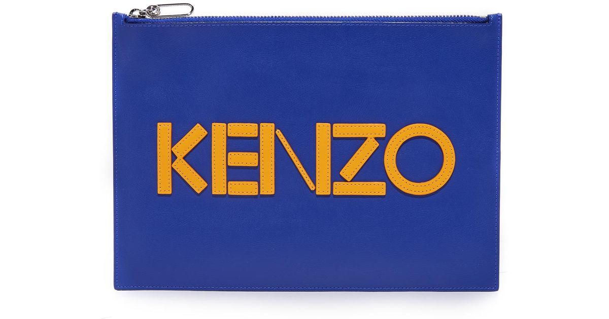 3f65e334b KENZO Leather A4 Pouch in Blue for Men - Lyst