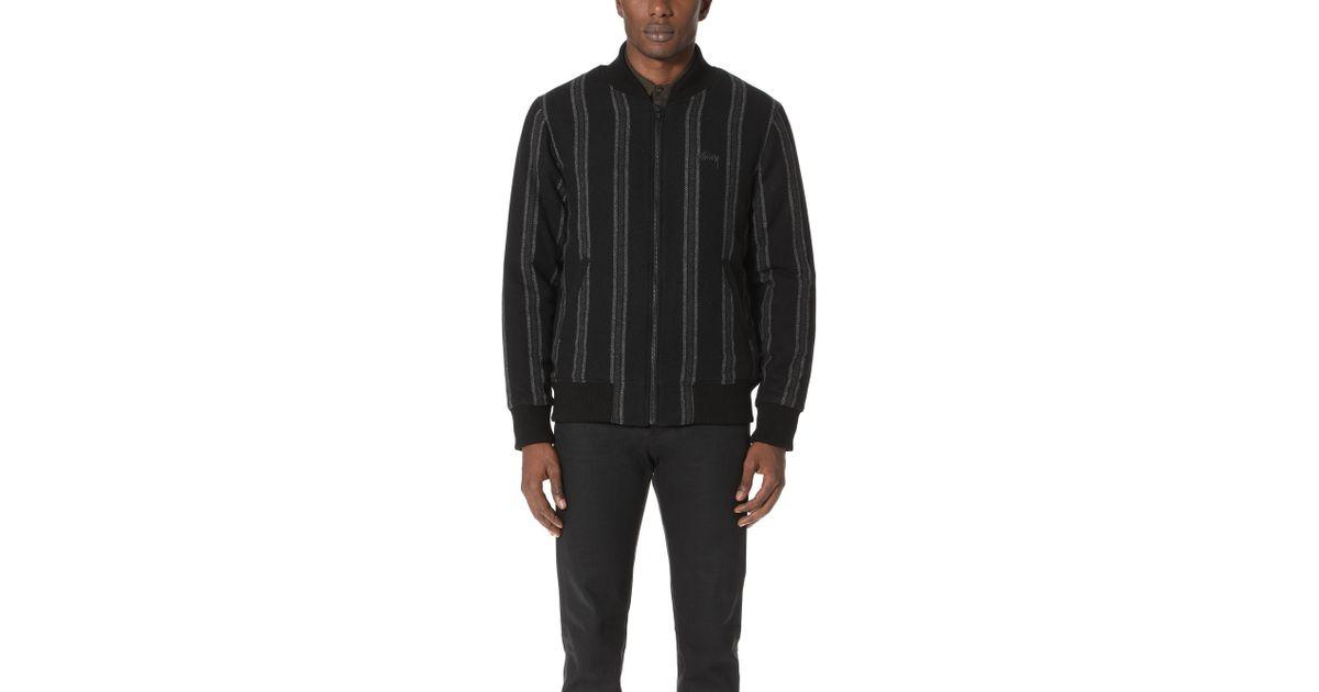 8f92f30df Stussy Black Wool Stripe Bomber Jacket for men
