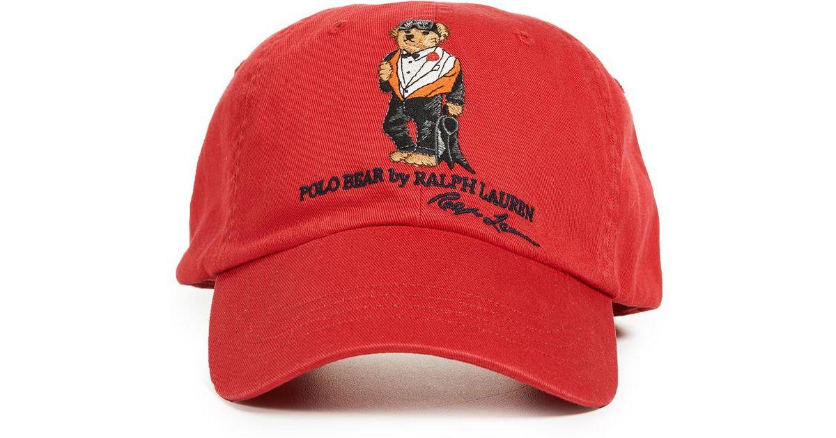 70c2562c03c Polo Ralph Lauren Classic Sports Bear Cap in Red for Men - Lyst