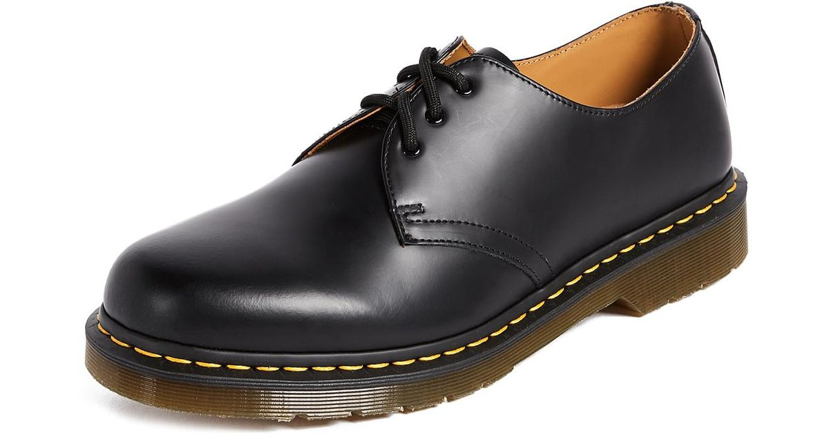Dr. Martens Leather 1461 3 Eye Gibson Lace Up in Black for ...
