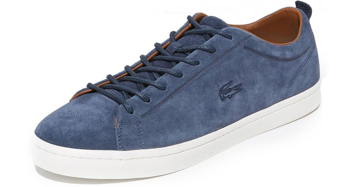 da3be33ff Lyst - Lacoste Straightset Suede Sneakers in Blue for Men