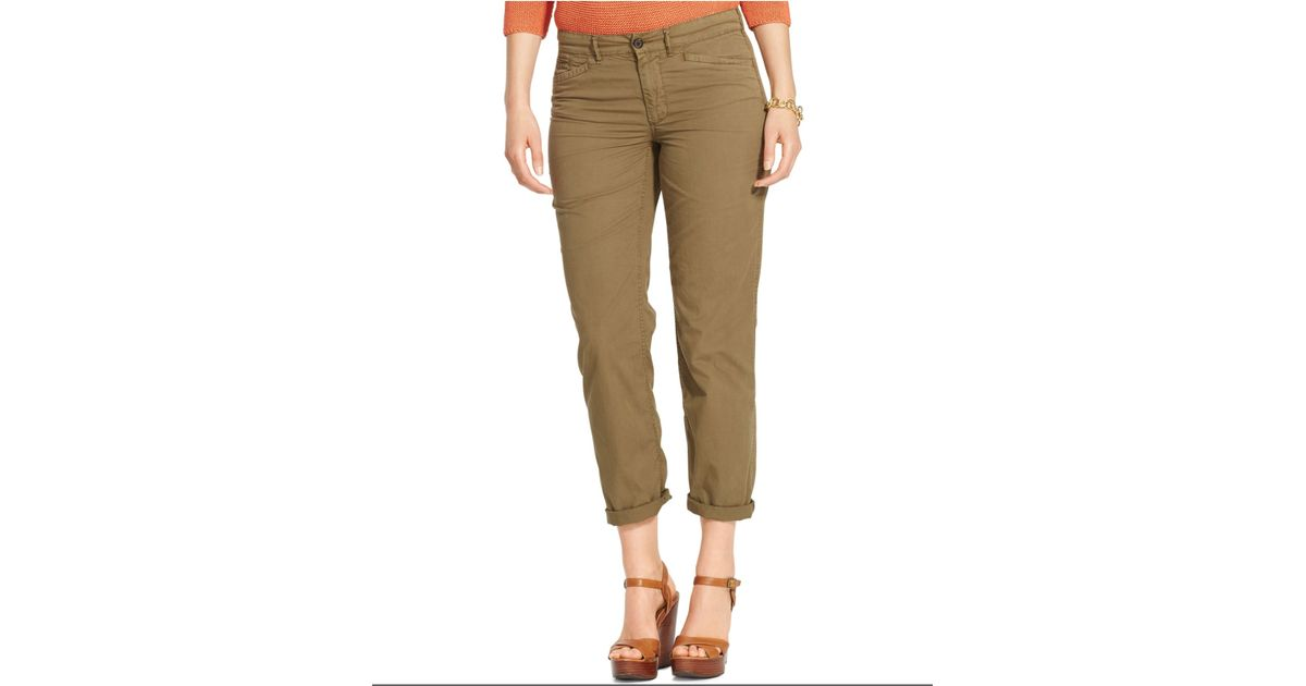 bae14d780bc Lyst - Lauren by Ralph Lauren Plus Size Rolled-Cuff Chino Pants in Green