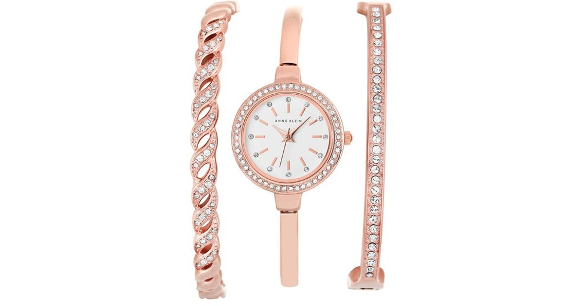 Anne klein crystal bezel watch bangle set in pink lyst for Anne klein rose gold watch set