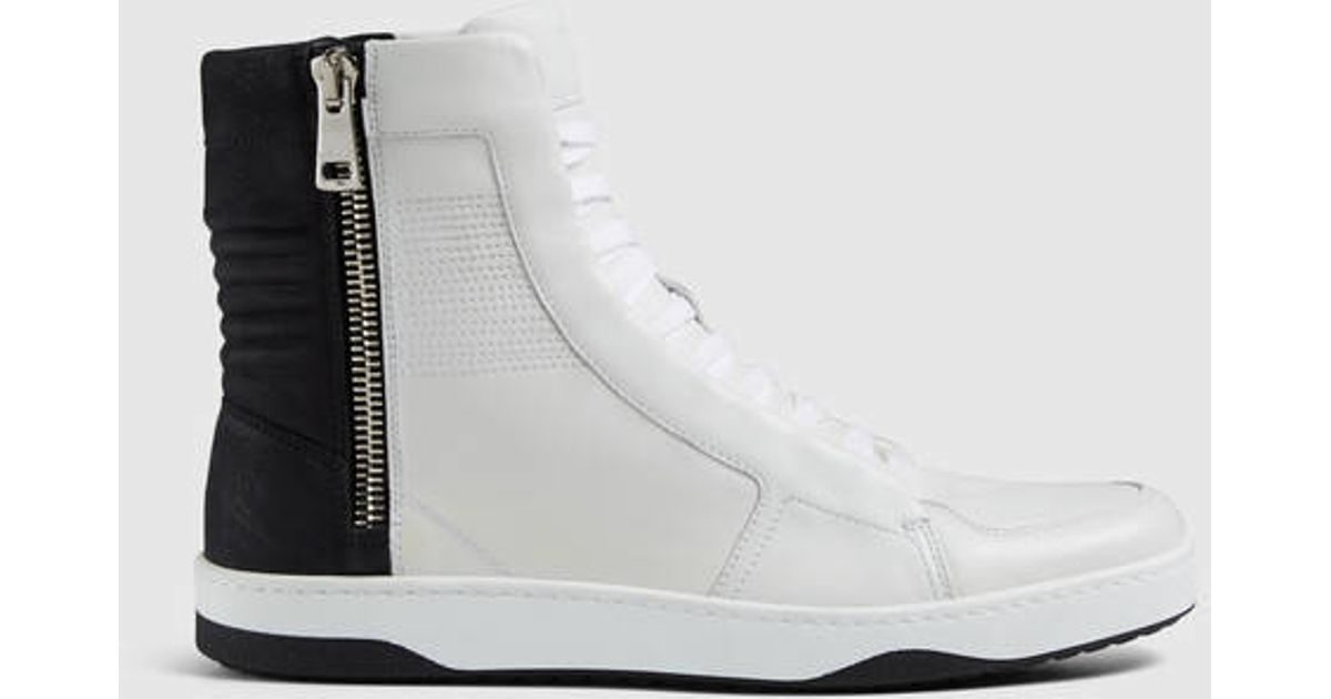 cbe253a5d9bbb Gucci Leather High-top Sneaker With Zippers in White for Men - Lyst
