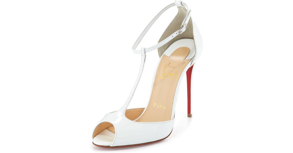 d152612d53c Christian Louboutin White Senora Patent 100mm Red Sole T-strap Sandal