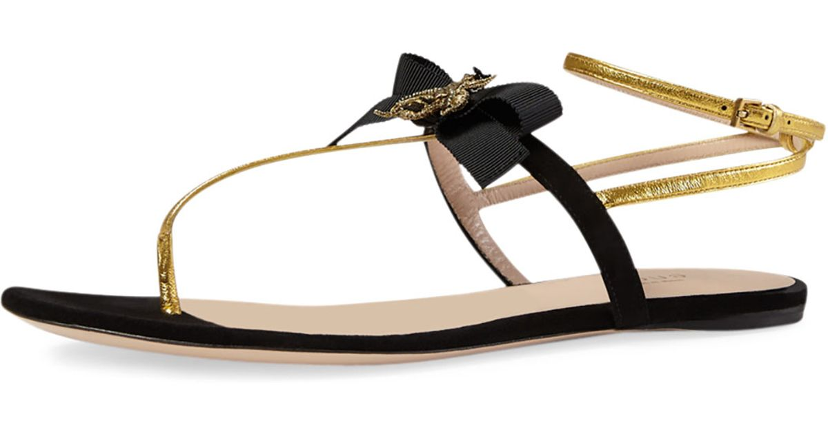 ced25f4953b Lyst - Gucci Moody Bow-Detail Flat Sandals in Black