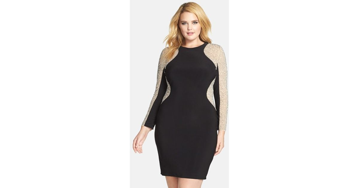 22541698 Xscape Beaded Illusion Sleeve Jersey Body-con Dress in Black - Lyst