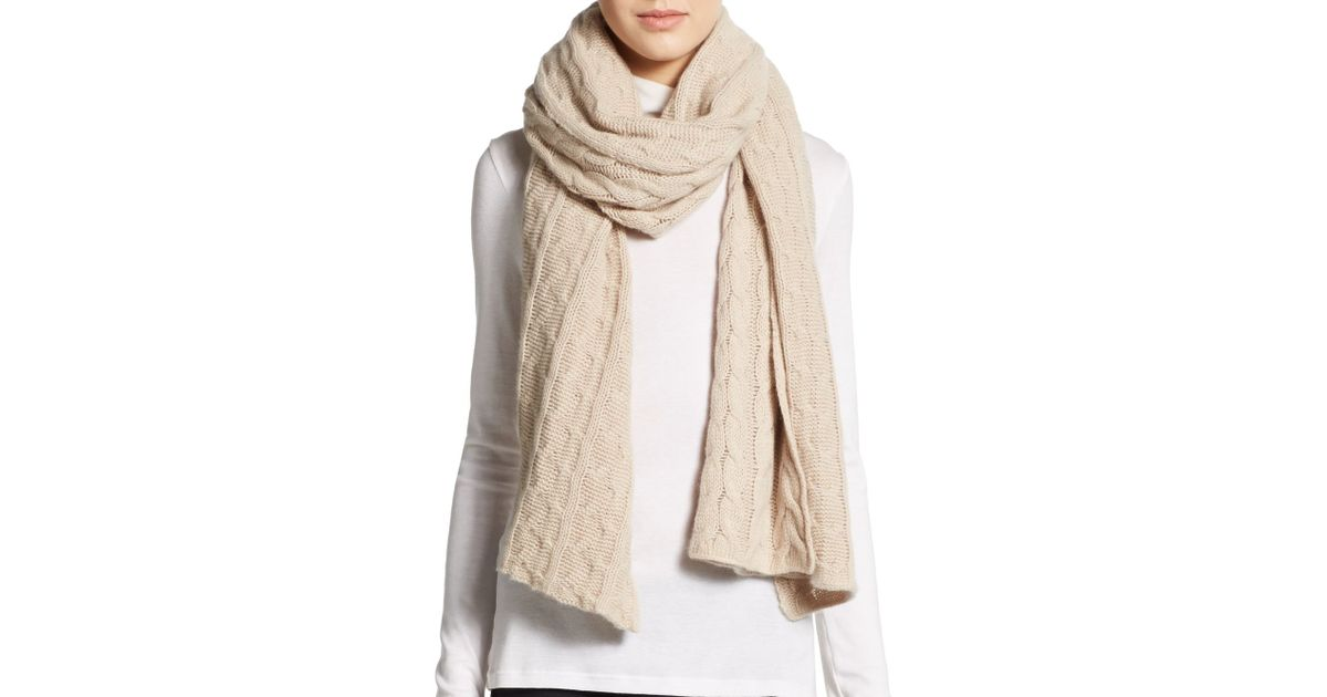 Portolano Cable-knit Cashmere Scarf in Natural Lyst