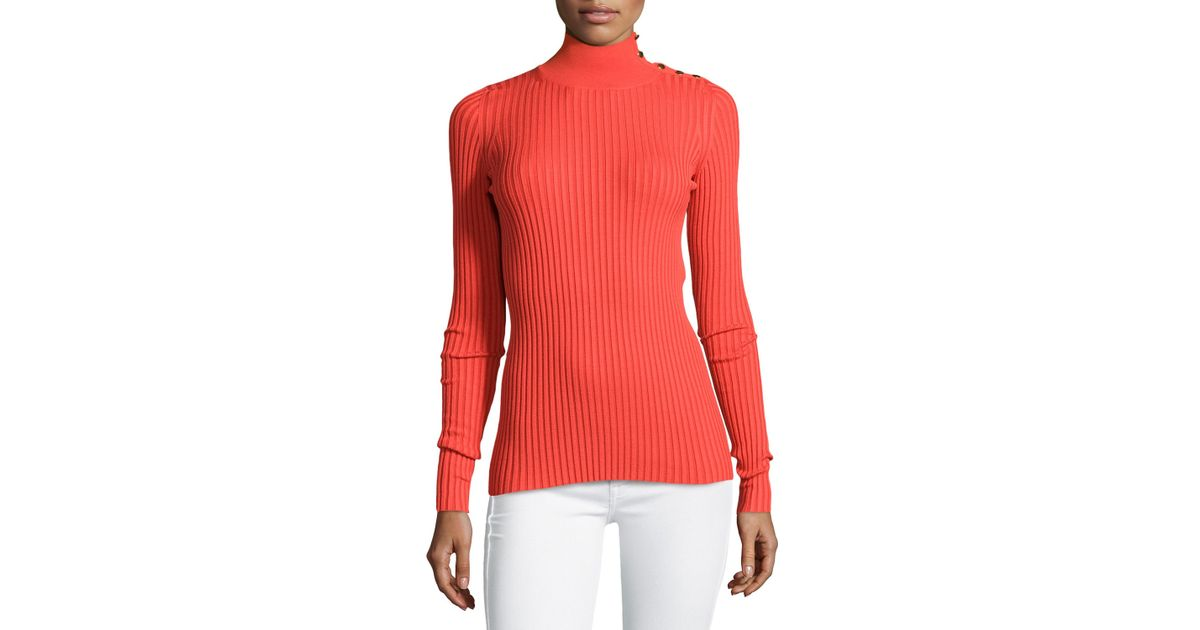 022c11a4e2e Lyst - Stella McCartney Studded Ribbed Turtleneck Sweater in Red