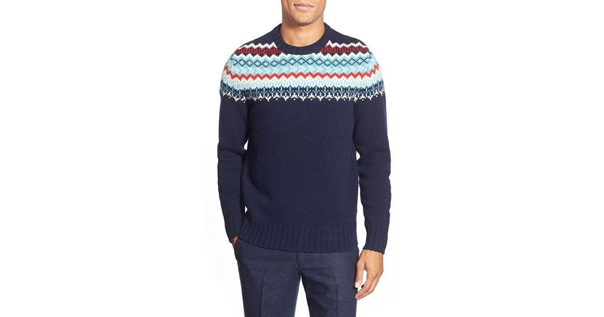 Bonobos Fair Isle Lambswool Crewneck Sweater in Blue for Men | Lyst