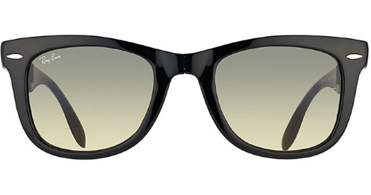 5aff98908e ... buy ray ban ray ban folding wayfarer 60132 black plastic foldable  sunglasses grey gradient lens in ...