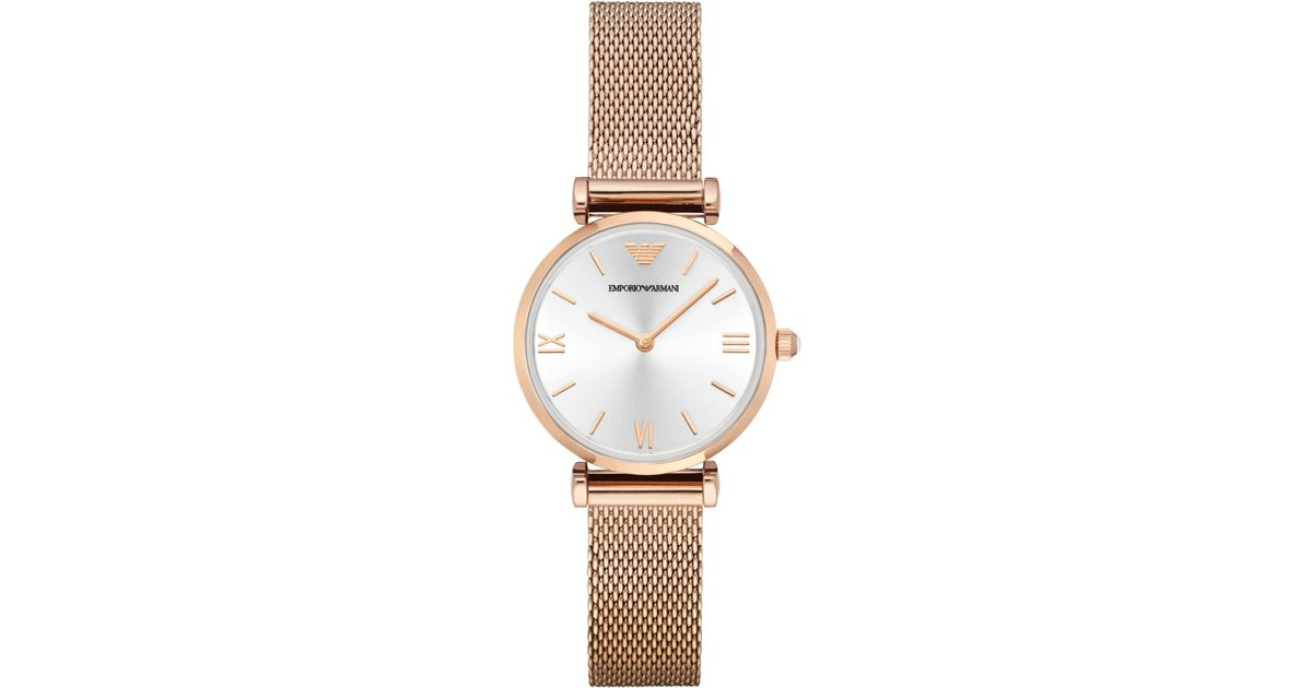b0a4d49c Emporio Armani Pink Women's Gianni T-bar Rose Gold-tone Stainless Steel  Mesh Bracelet Watch 32mm Ar1956