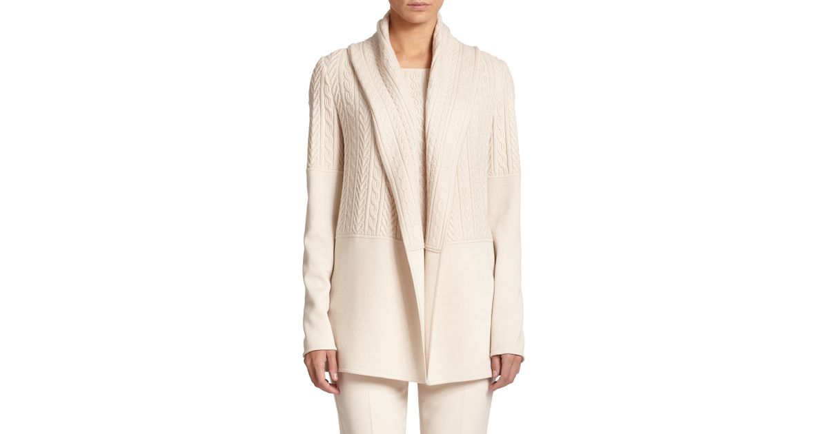 f655163d0 Lyst - St. John Cable   Smooth Knit Cardigan in Natural