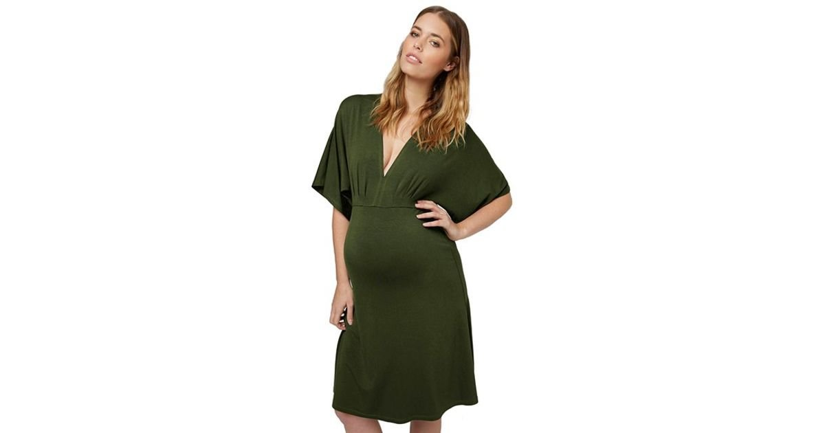 Topshop Jersey Maternity Dress In Olive Green Lyst