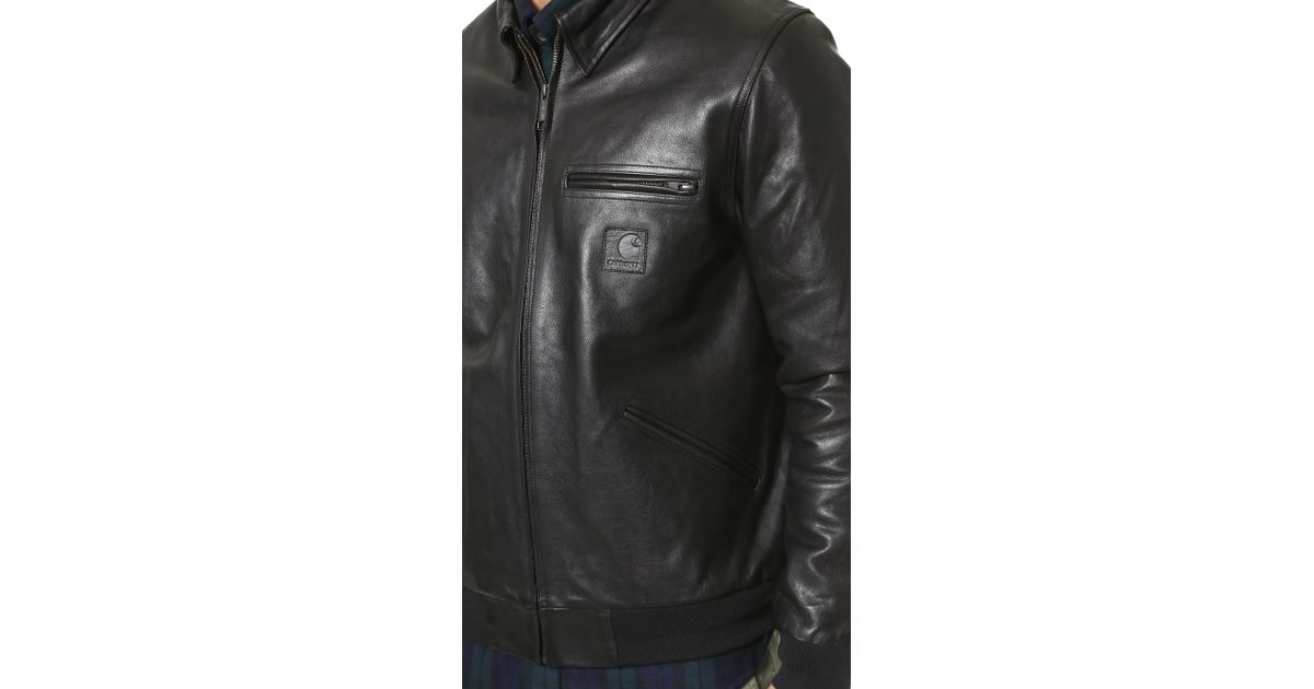 168059056 Carhartt WIP Black Detroit Leather Jacket for men