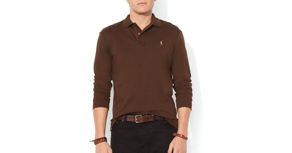 Trimmed Brown Polo Slim Ralph Men Pima Suede Lauren – Soft Touch Fit For Shirt j45ALq3R