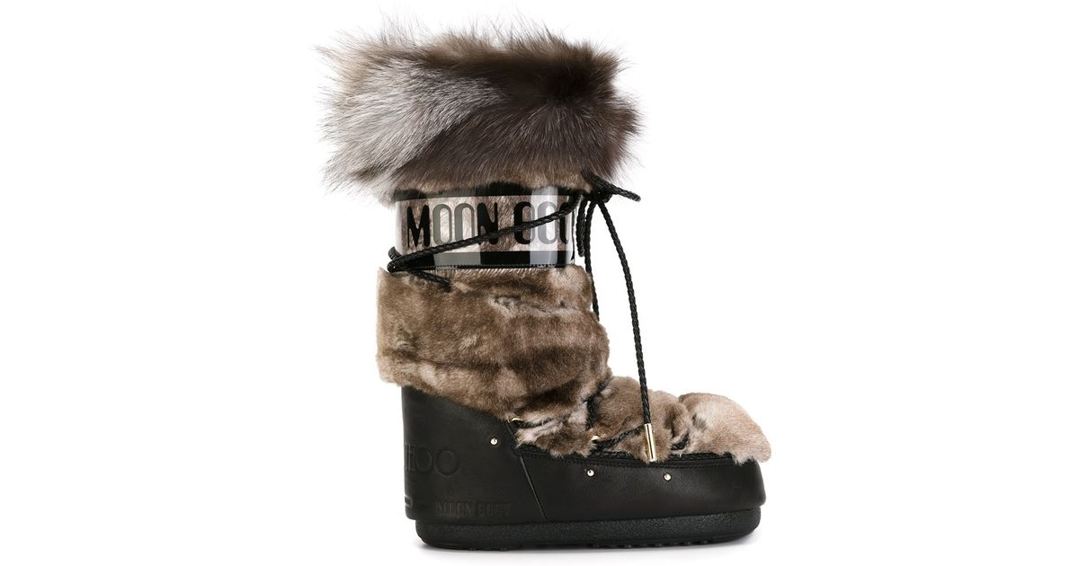 8e36d74ee52 Lyst - Jimmy Choo Fox And Rabbit Fur Moon Boots in Brown