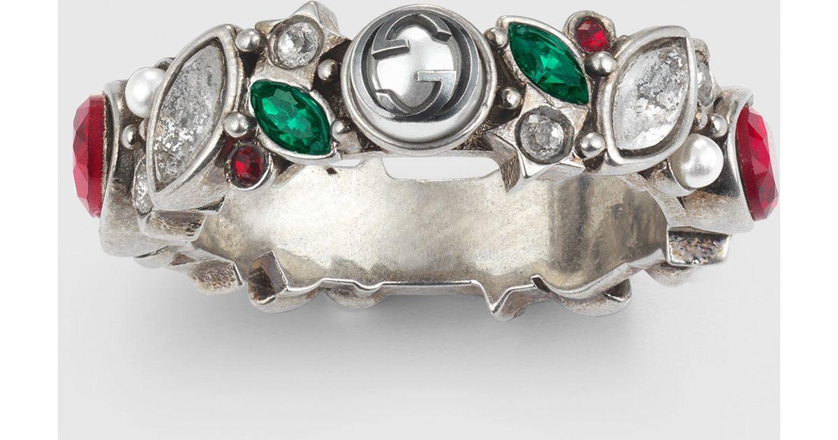 9922f0f0c Gucci Ring With Swarovski Crystals in Metallic - Lyst