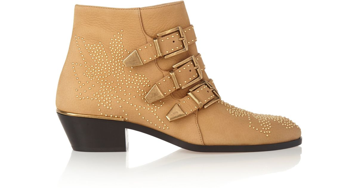 a17fa683 Chloé Natural Susanna Studded Textured-leather Ankle Boots