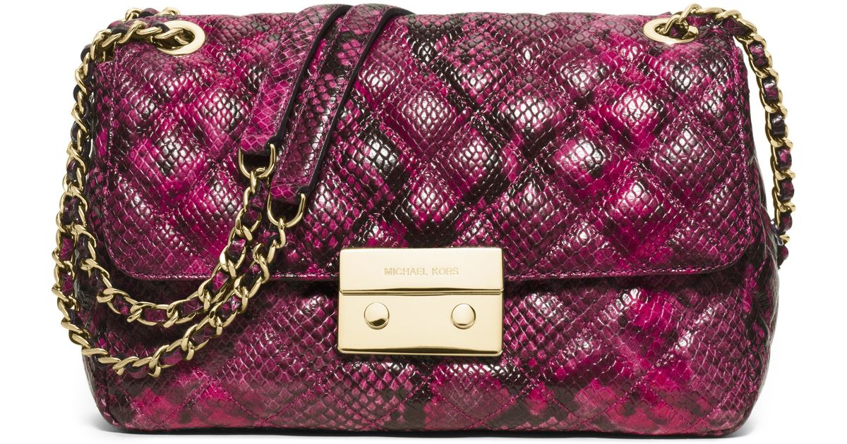 9f4602023535 MICHAEL Michael Kors Sloan Large Quilted Snake-embossed Leather Crossbody  Bag in Purple - Lyst