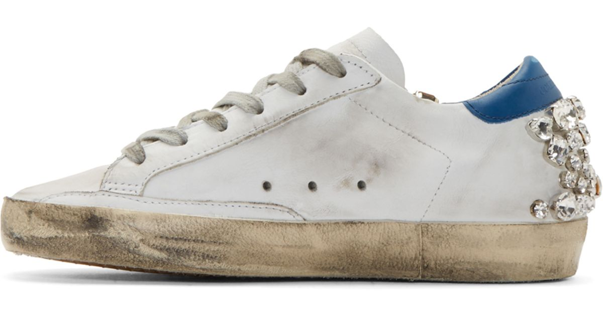19a3d62c5476 Lyst - Golden Goose Deluxe Brand White Studded Swarovski Edition Superstar  Sneakers in White