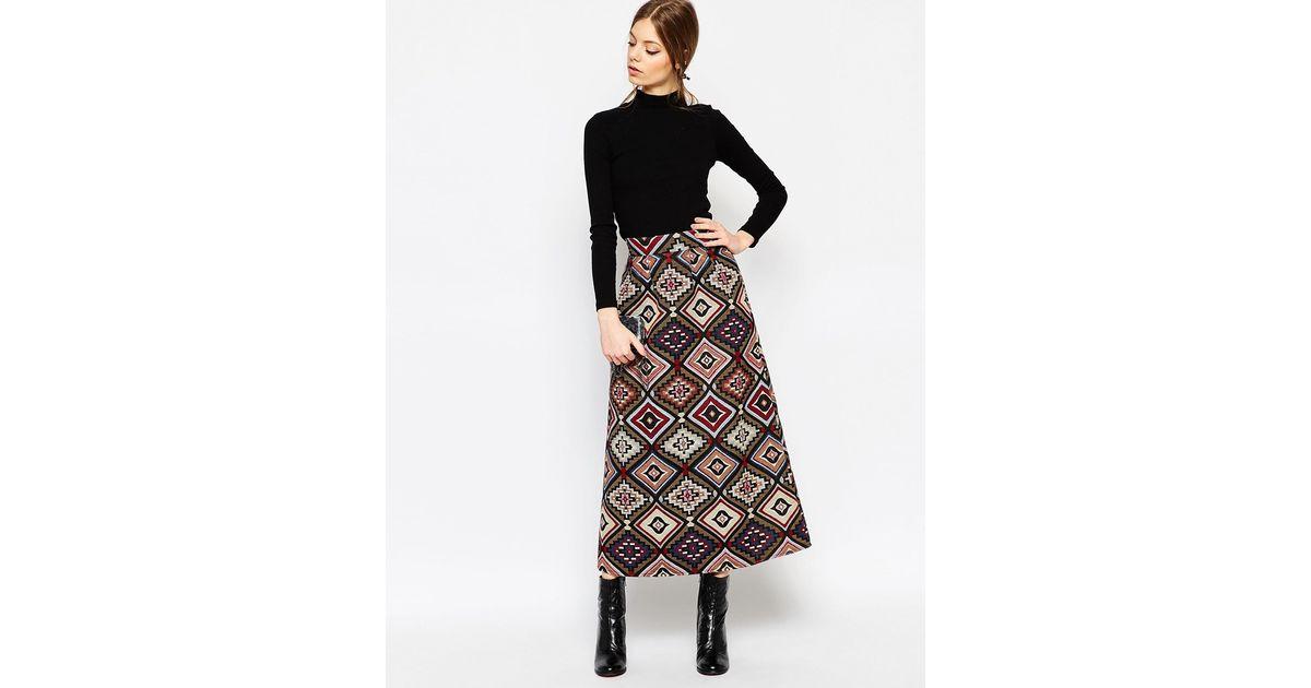 asos jacquard maxi skirt multi in lyst