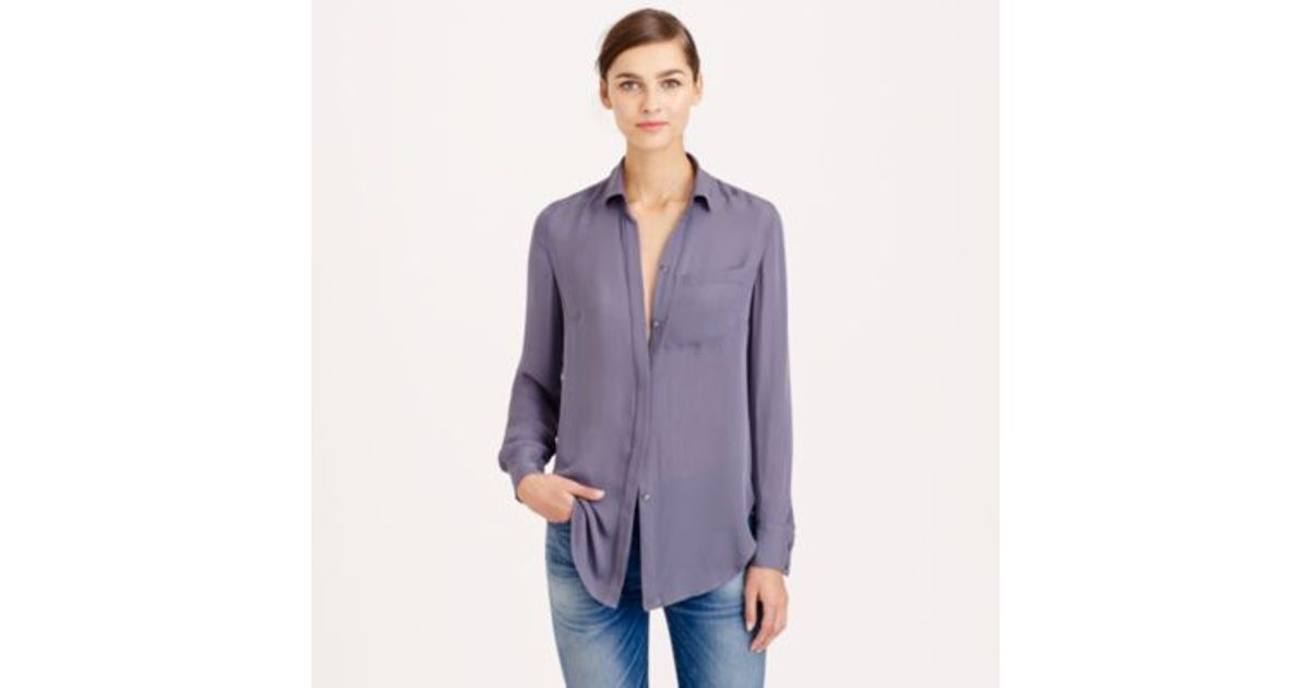 aaf0397d4b32f3 J.Crew Petite Classic Silk Blouse in Purple - Lyst