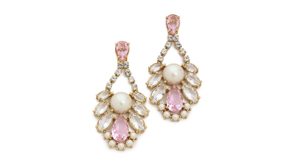 Lyst Kate Spade New York Sunrise Cer Cupchain Chandelier Earrings Pink Cream Multi In