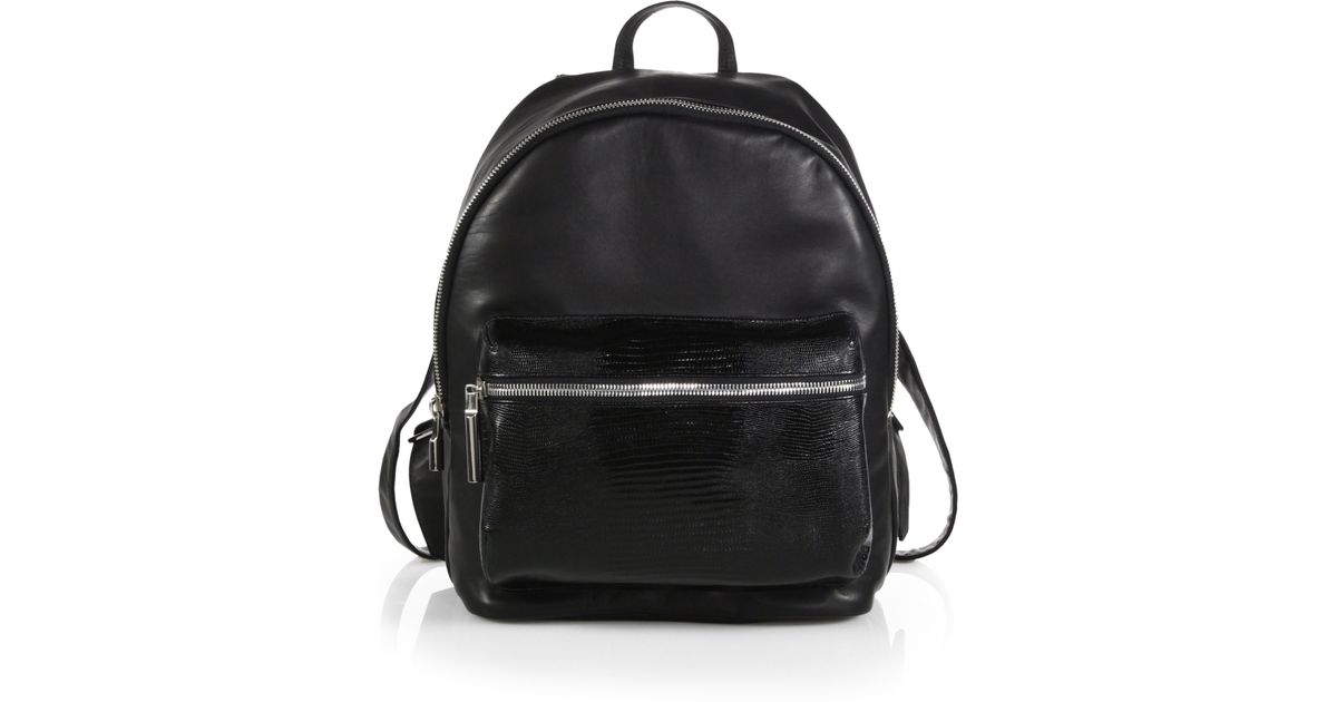 9e9df67dfb Lyst - Elizabeth and James Cynnie Leather Backpack With Lizard-embossed  Pocket in Black