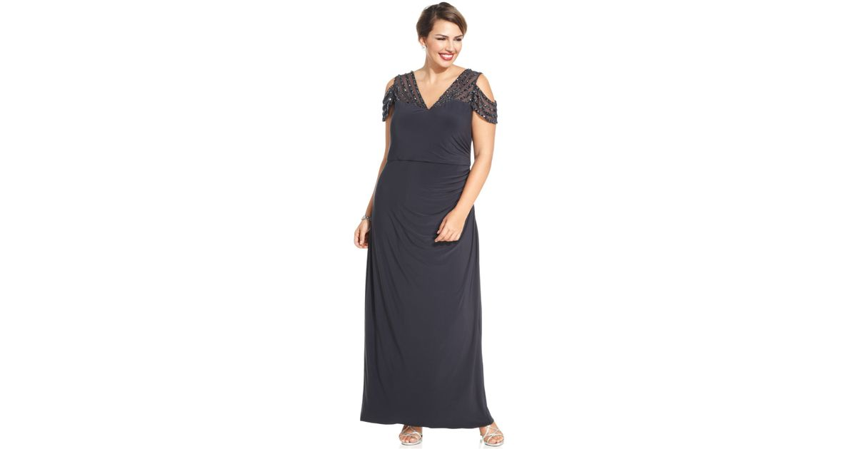 Lyst Patra Plus Size Cold Shoulder Embellished Illusion Gown In Gray