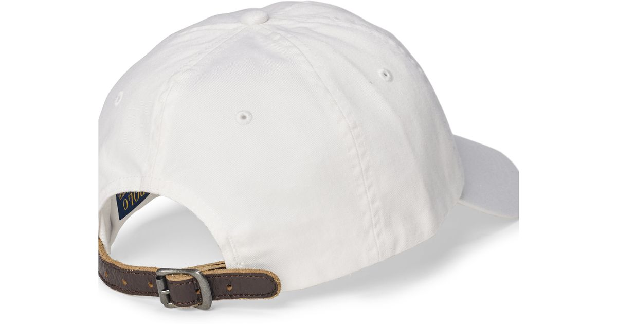 b563649d57d33 Polo Ralph Lauren Embroidered Chino Baseball Cap in White for Men - Lyst