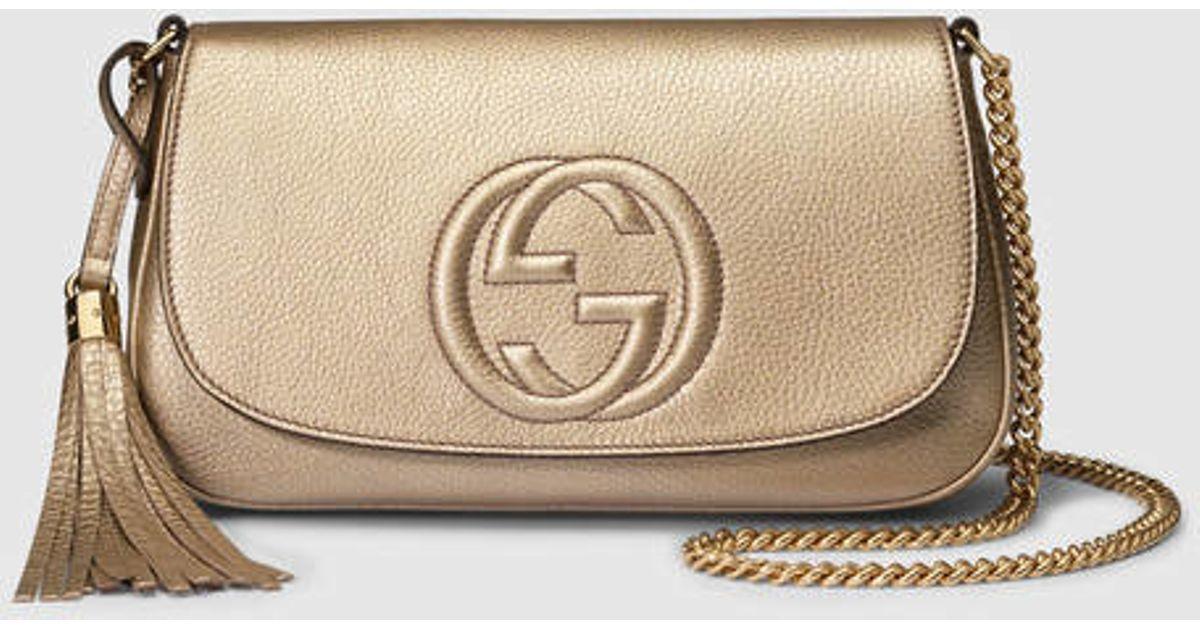 2815c564312 Lyst - Gucci Soho Metallic Leather Shoulder Bag in Metallic