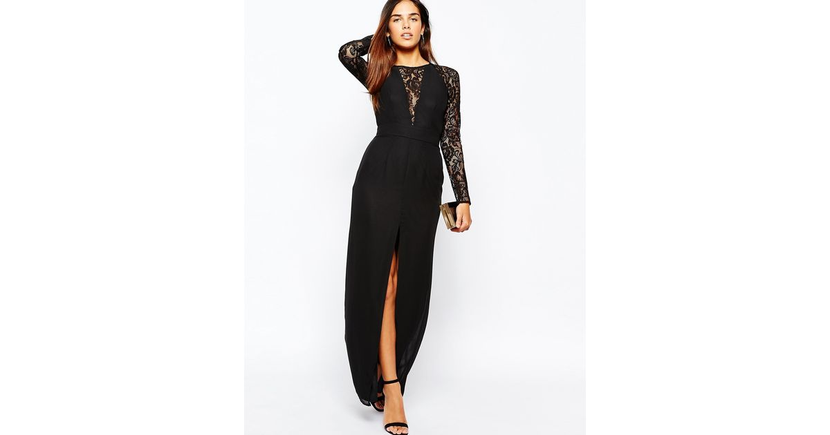 03e3e311ee167 Lyst - Elise Ryan Lace Maxi Dress With Deep V Plunge Neck And Thigh Split  in Black