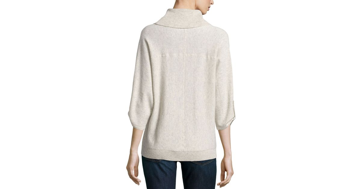 Neiman marcus Cashmere Cowl-Neck Tab-Sleeve Pullover in Natural | Lyst